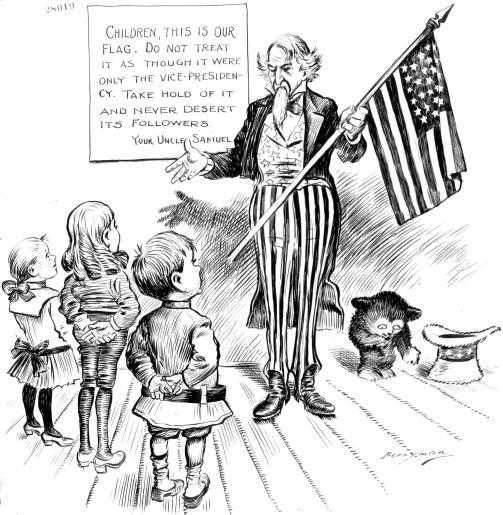 Clifford Berryman's 1901 Flag Day cartoon, found at the National Archives: