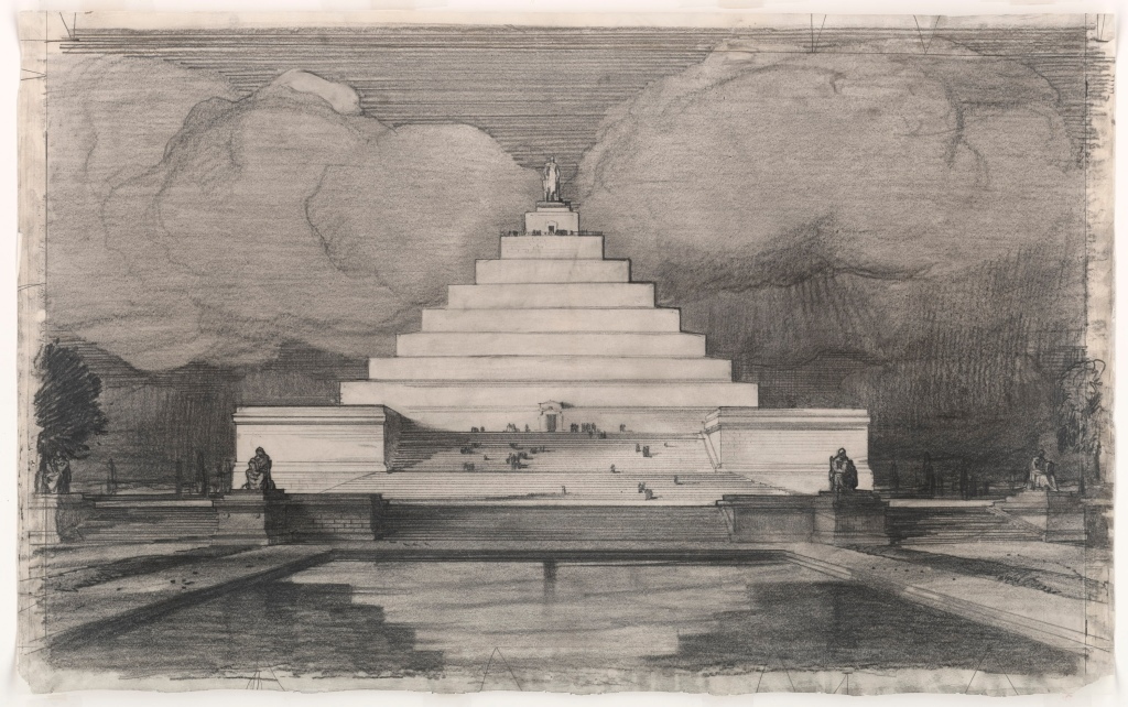 John Russell Pope's Competition Proposal for a Ziggurat Style Monument to Abraham Lincoln, 1912. (National Archives Identifier 6065986)