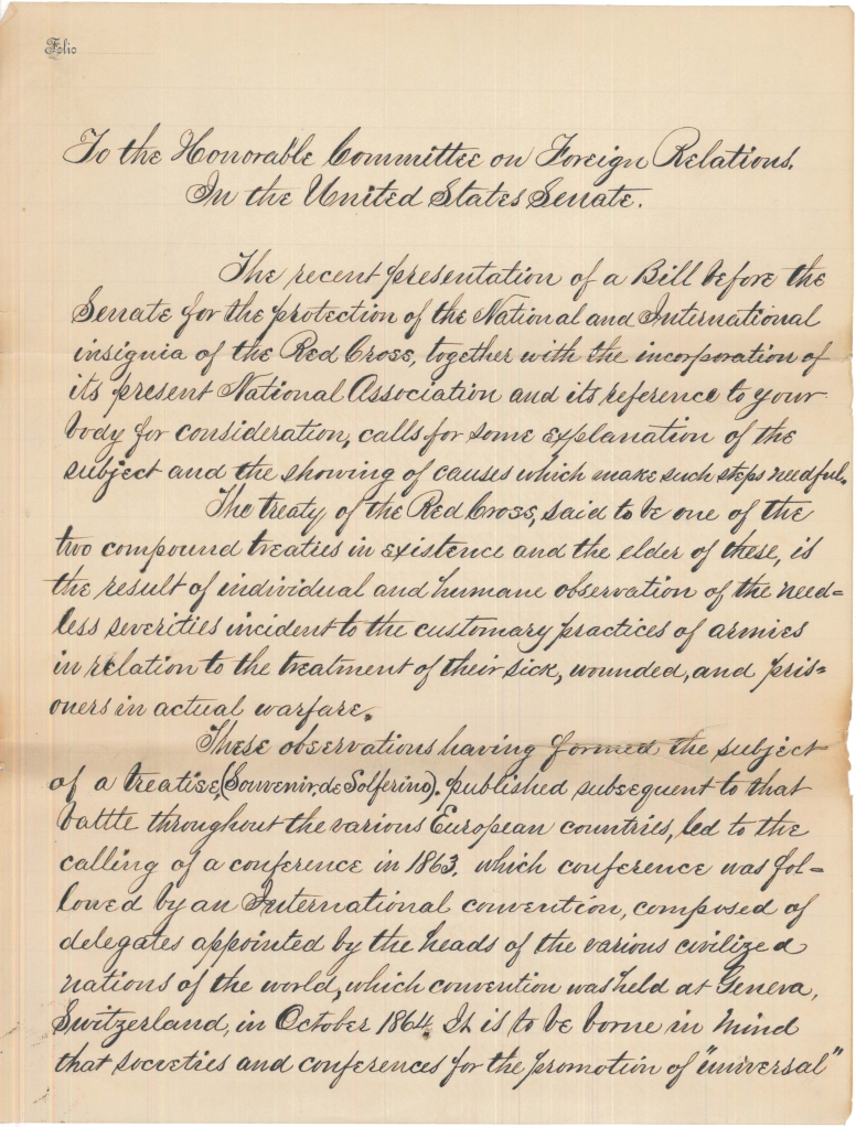 Petition to the Senate Regarding the Incorporation of the Red Cross from Clara Barton. (National Archives Identifier 7542783)