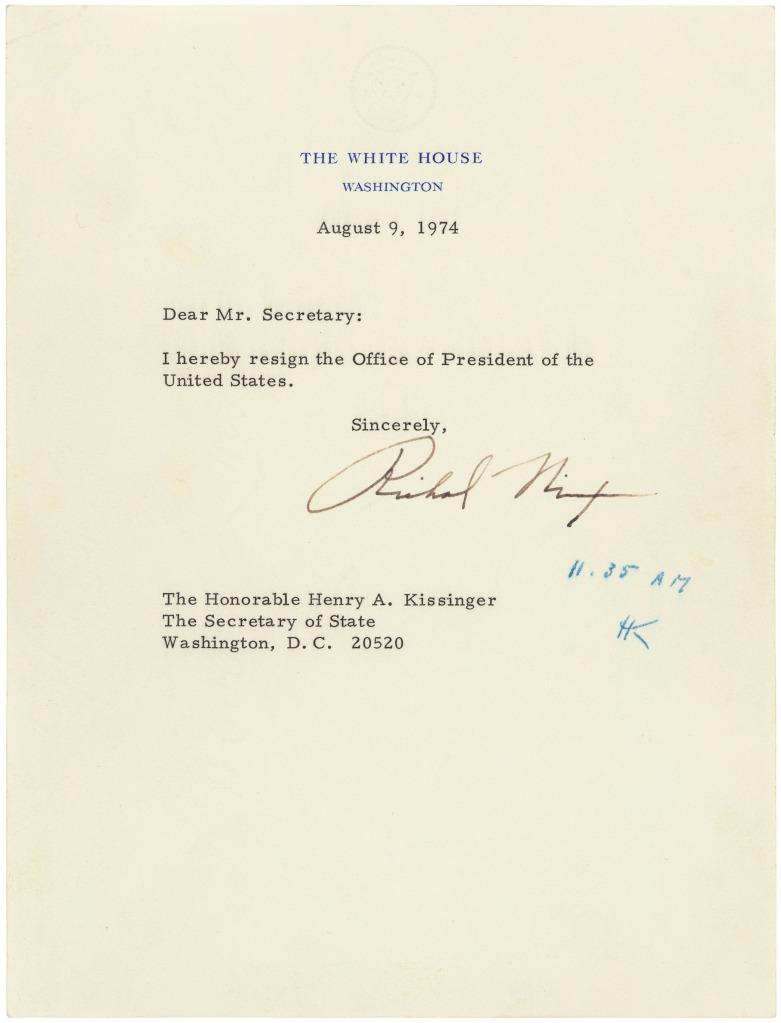 Richard M. Nixon's Resignation Letter, 08/09/1974. (National Archives Identifier 302035)