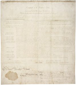 Delaware's ratification of the Bill of Rights, 01/28/1790. (General Records of the U.S. Government, National Archives).