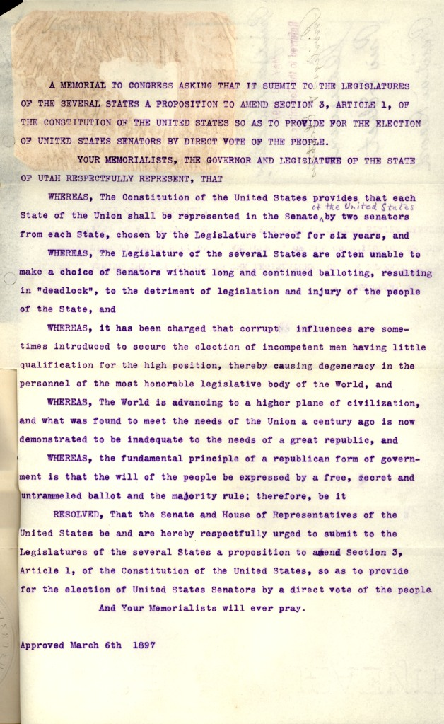 Resolutions of the Utah State Legislature and Governor, March 6, 1897. (Records of the U.S. Senate, National Archives)