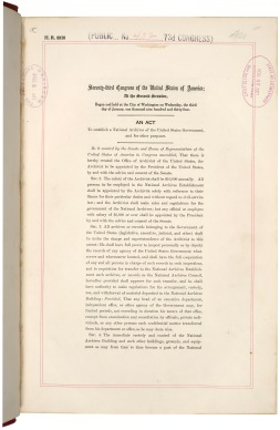 First page of the National Archives Act, June 19, 1934 (National Archives Identifier 299840)