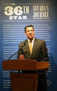 Governor Brian Sandoval speaks at the press conference. July 29, 2014. Courtesy of Nevada Museum of Art.