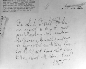 Truman's handwriting on the back of a Potsdam photograph describing telling Stalin about the atomic bomb, July 19, 1945. (Harry S. Truman Presidential Library)