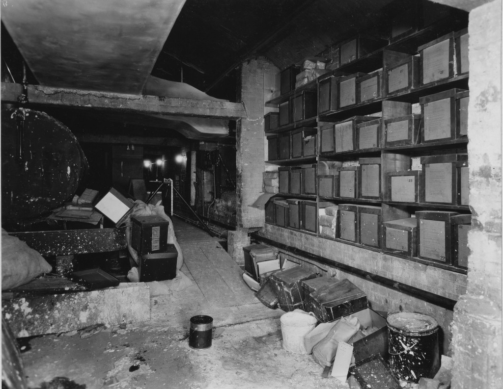 Attic of the House wing of the U.S. Capitol where the papers of the first 23 Congresses were stored, May 13, 1937. (Records of the National Archives, National Archives)
