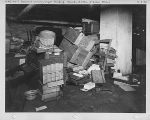 Photograph of storage conditions of the Office of Indian Affairs records, 1935.  (Records of the National Archives)