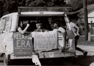 Photograph of Equal Rights Amendment (ERA) Posters on the Back of a Station Wagon, c. 1977. (ARC Identifier 7452296)