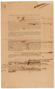 Senate Revisions to the Proposed Bill of Rights, page 1, 9/9/1789. (National Archives Identifier 3535588)