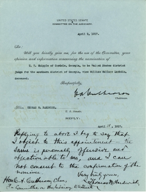 Senator Thomas Hardwick's Blue Slip for U.V. Whipple, April 11, 1917. (Records of the U.S. Senate, National Archives)