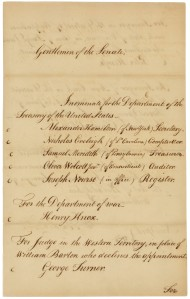 George Washington's nomination of Alexander Hamilton and others, front, September 11, 1789. (Records of the U.S. Senate, National Archives)