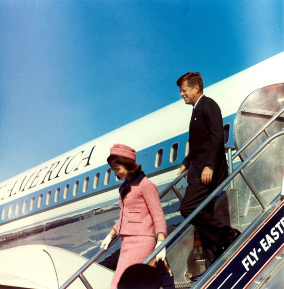 President and Mrs. Kennedy Deplane from Air Force One at Love Field, Dallas, Texas, 11/1963. (National Archives Identifier 6816409)