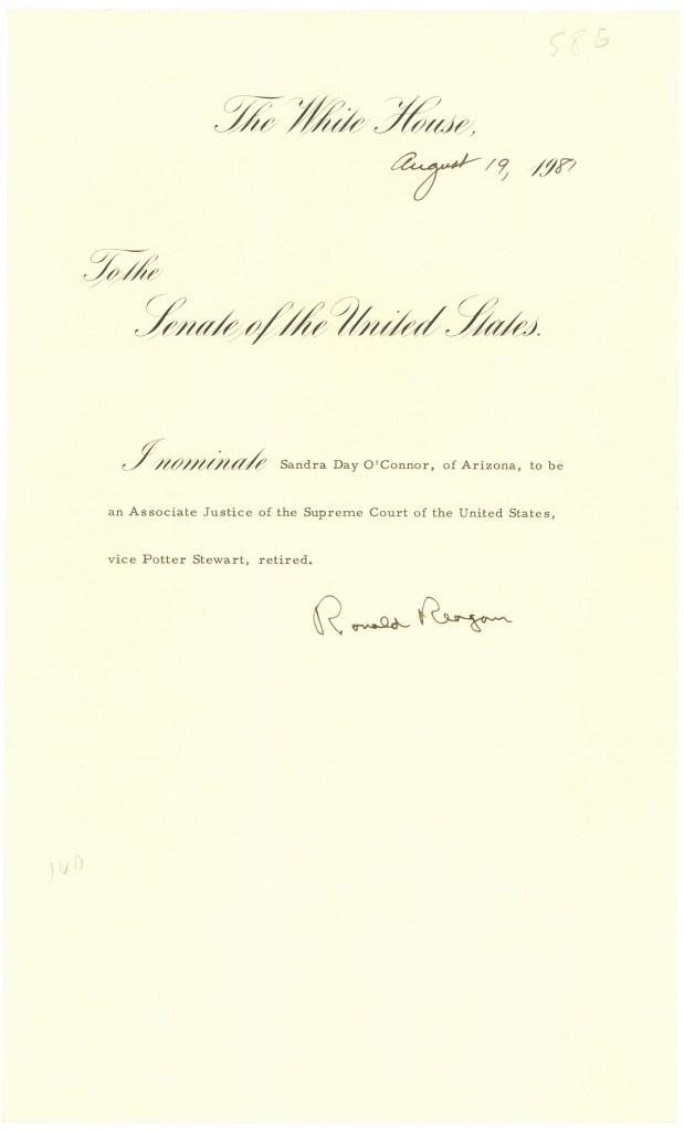 President Ronald Reagan's Nomination of Sandra Day O'Connor to be Associate Justice of the Supreme Court of the United States, August 19, 1981. (National Archives Identifier 595429)