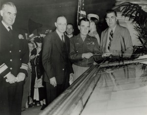 General McAuliffe Unveiling the German Surrender Documents in the Rotunda of the National Archives, June 6, 1945. National Archives Identifier  4477175 )