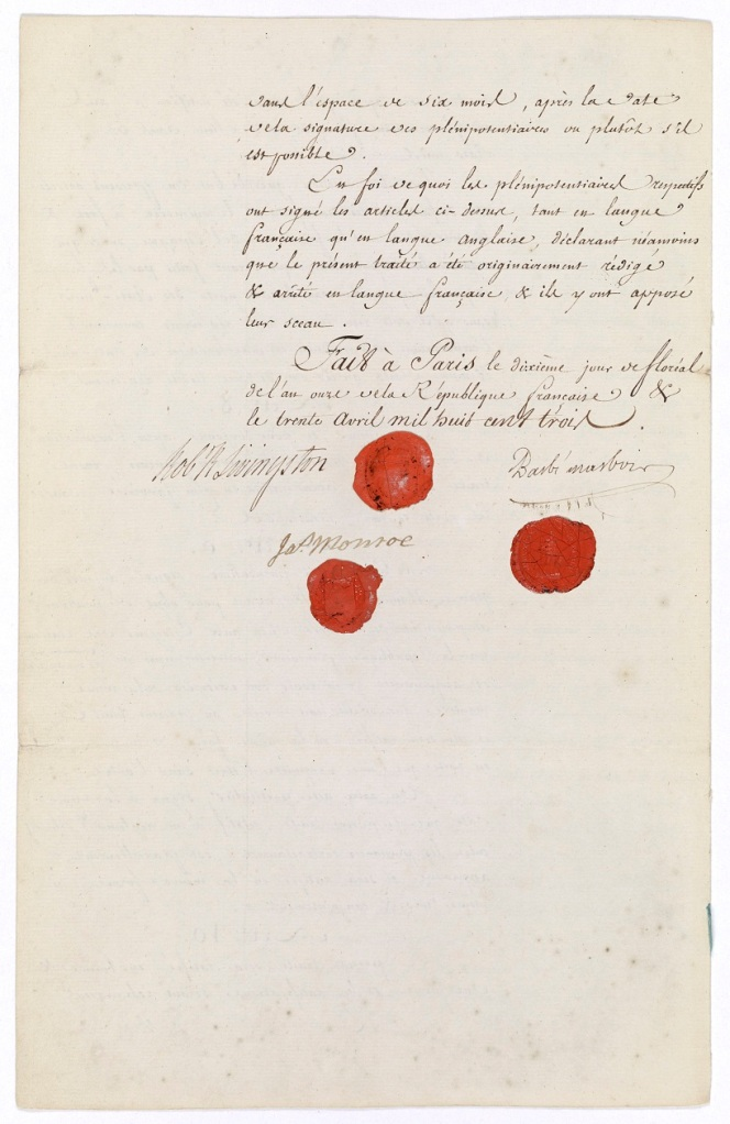 The Louisiana Purchase Treaty, signed in Paris, April 30, 1803. (National Archives)