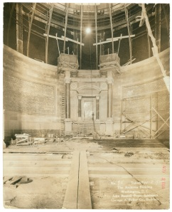 Construction of the National Archives Exhibition Hall, November 2, 1934. (Records of the Public Buildings Service, National Archives)