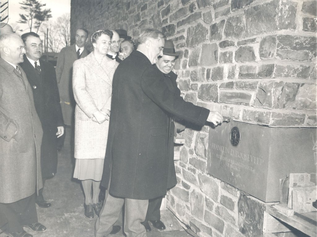 FDR Library Cornerstone Ceremony, November 19, 1939. (Franklin D. Roosevelt Presidential Library and Museum)