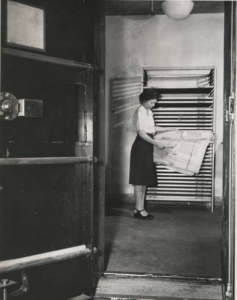"""Records in Humidifying Vault"" photo by Jackie Martin, International News Photos, 1946. National Archives 64-NA-466"