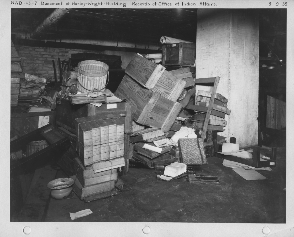 And this is why we needed a National Archives! Photograph of storage conditions of the Office of Indian Affairs records, 1935. (Records of the National Archives, RG 64)