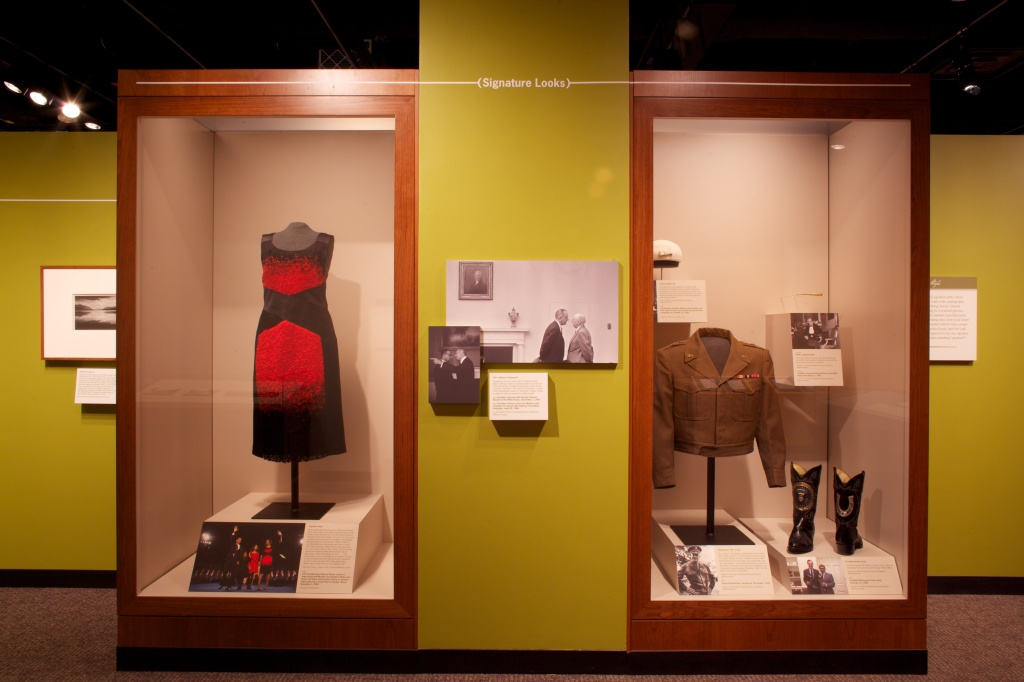 "Visitors to ""Making Their Mark: Stories Through Signatures"" saw First Lady Michelle Obama's dress on display."