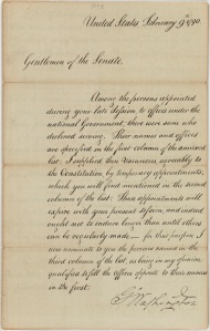 President George Washington's message to the Senate regarding recess appointments, February 9, 1790. (Records of the U.S. Senate, National Archives)