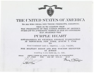 Certificate (copy) awarding the Purple Heart medal to Louis Zamperini, 10/12/1944. (National Civilian Personnel Records Center, National Archives)