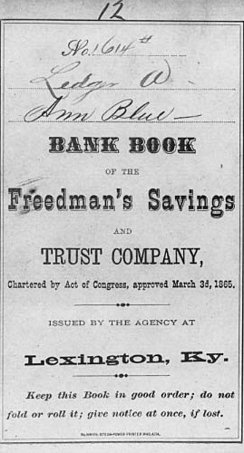 Bank Book: Ann Blue opened this account in Lexington, Kentucky, in August 1873. After the bank's demise in 1874, she sent in this passbook and received $37.94 in dividend payments. (National Archives, Records of the Office of the Comptroller of the Currency, RG 101)