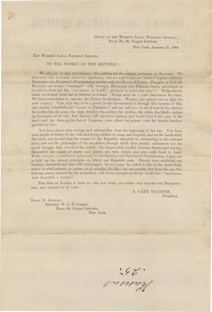 """To the Women of the Republic,"" Address of the Women's Loyal National League Supporting the Abolition of Slavery, January 25, 1864. (National Archives Identifier 306400)"