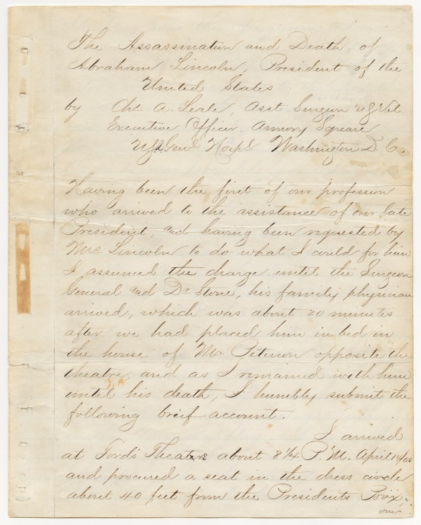 Report of Assistant Surgeon Charles A. Leale concerning the death of A. Lincoln (page 1), 1865. (Records of the Adjutant General's Office, National Archives)