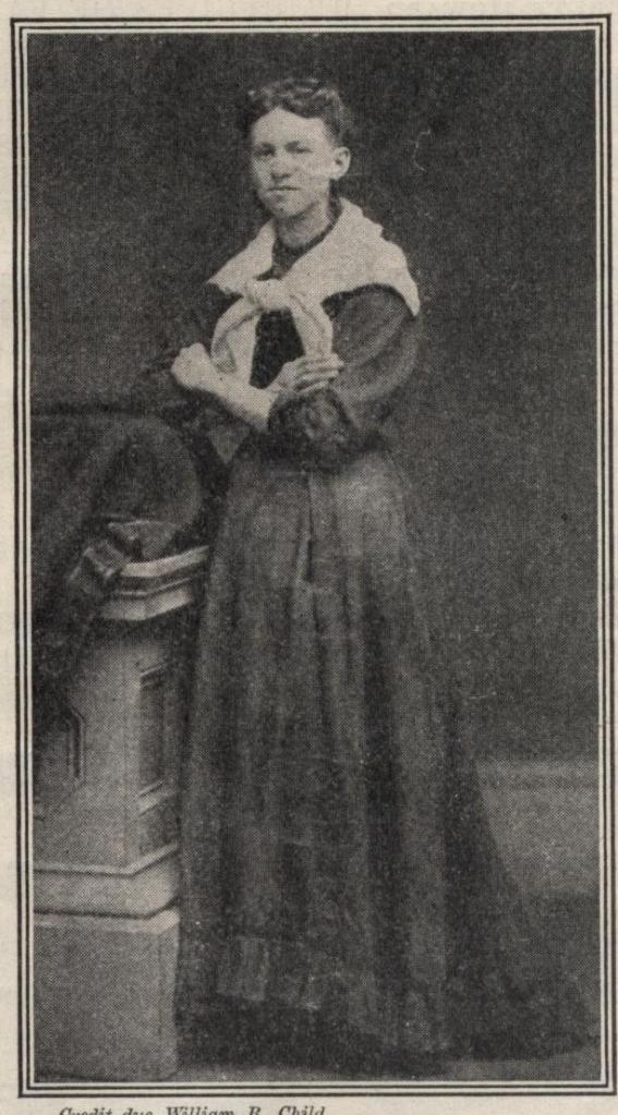 "Photograph of Ida Wilson Lewis, from her official personnel folder. The image is from ""New Idea Woman's Magazine,"" vol. XXI, January 1910. The magazine captioned the image ""As Miss Lewis looked in 1869."""