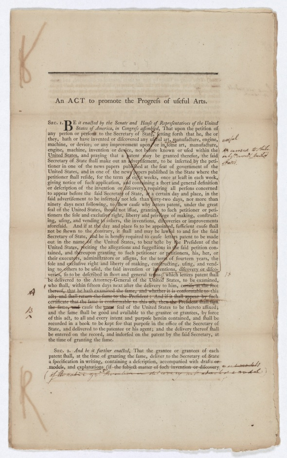 Patents Act, March 11, 1790. (Records of the U.S. Senate,  National Archives)