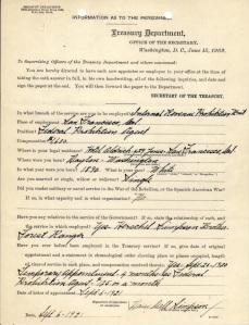 Daisy Simpson Personnel Information Sheet,  September 6, 1921 (National Archives at St. Louis)