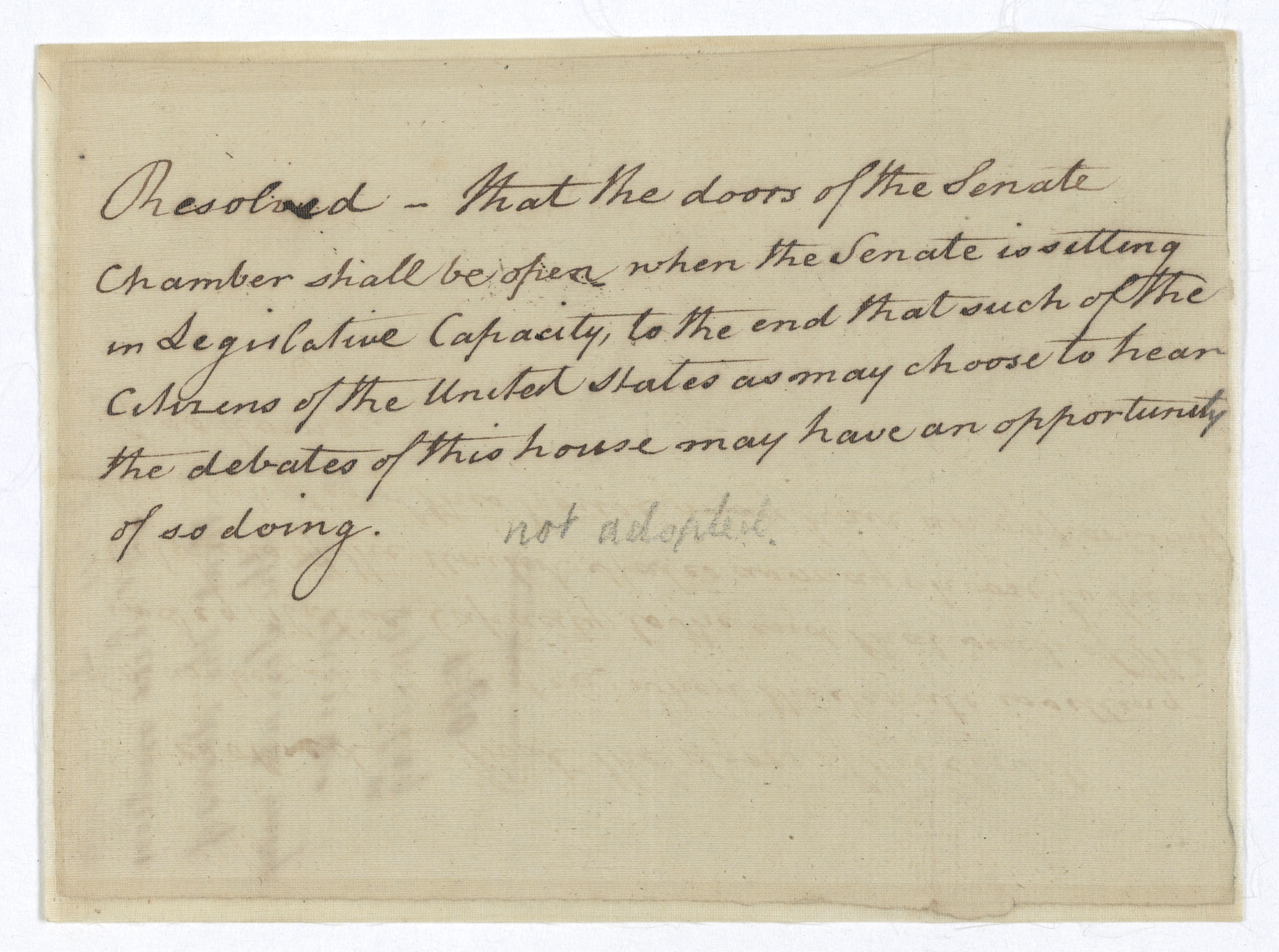 Resolution to Open the Doors of the Senate Chamber April 29 1790. (