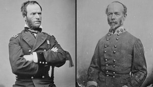 Gen. William T. Sherman and Gen. Joseph Johnston (National Archives Identifiers 525970 and 525983)