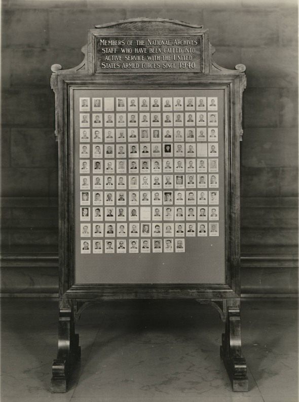 Placard showing members of National Archives staff in armed forces, February 22, 1943. (Records of the National Archives)