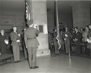 "Performance of ""Taps"" at War Memorial Plaque Dedication,, January 29, 1947. (Records of the National Archives)"