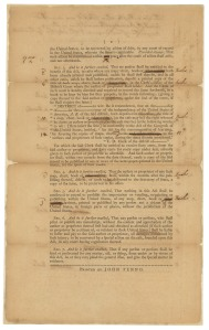Copyright Act of 1790, bill version, page 1. (Records of the U.S. Senate, National Archives)