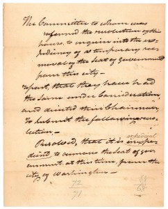 Select Committee report and resolution to inquire into the expediency of removing the Seat of Government, October, 1814. (Records of the U.S. House of Representatives, National Archives)