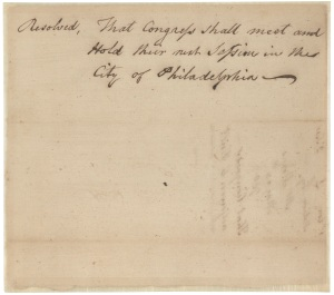 Senate Resolution that Congress should meet in Philadelphia, May 24, 1790. (Records of the U.S. Senate, National Archives)