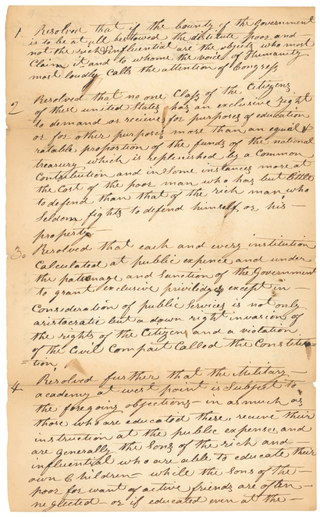 Page one of Congressman Davy Crockett's resolution to abolish the military academy at West Point, February 25, 1830; Records of the U.S. House of Representatives. National Archives Identifier 2173241