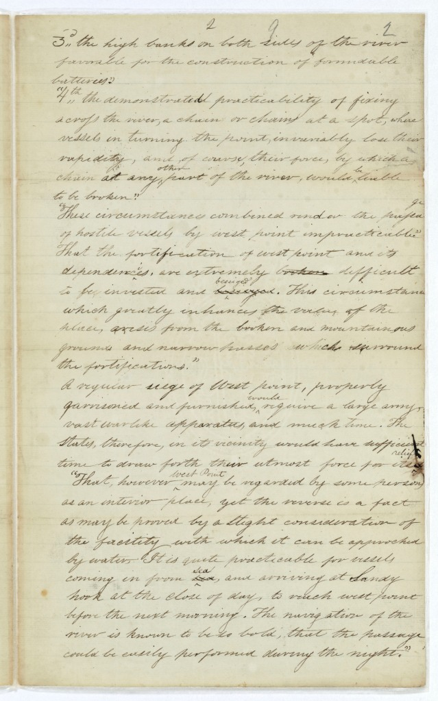 Page two of the Report of the Secretary of the Treasury on the petition of Stephen Moore advocating the retention by the U.S. of West Point as a military post, June 10, 1790; Records of the U.S. House of Representatives.