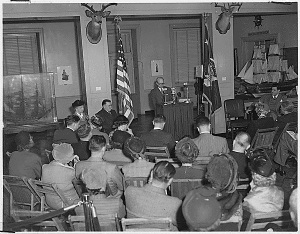 Eleanor Roosevelt opening the Franklin D. Roosevelt papers at Franklin D. Roosevelt Library in Hyde Park, New York, March 17, 1950. (National Archives Identifier 196619)