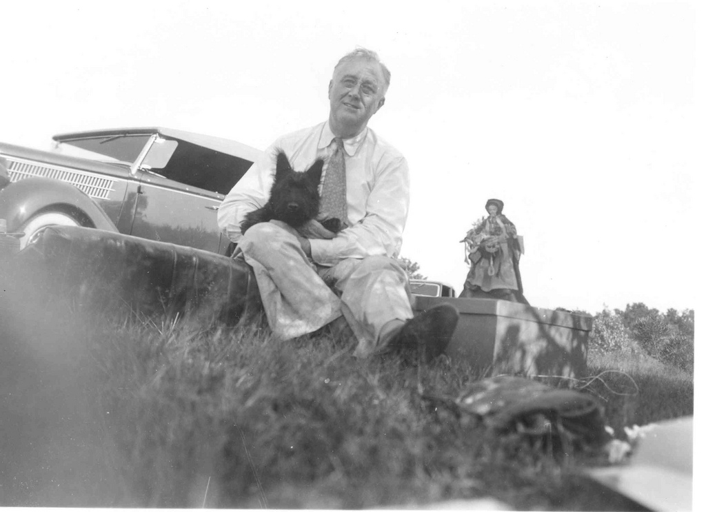 "FDR at a picnic on ""Sunset Hill"" near Pine Plains, NY, August 8, 1940. Fala is 4 months old. (FDR Library)"