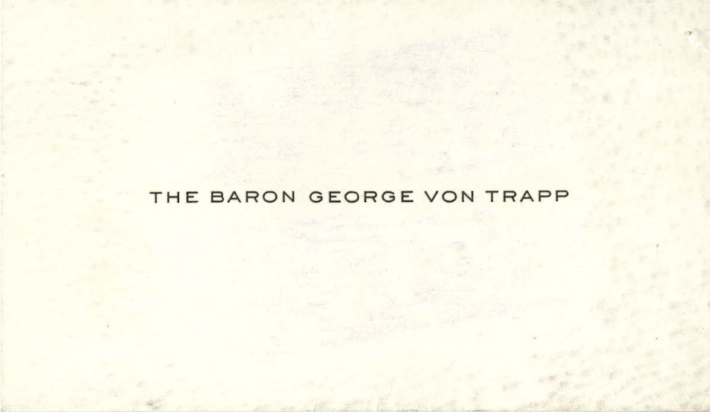 Baron von Trapp's calling card. (National Archives Identifier 6600095)