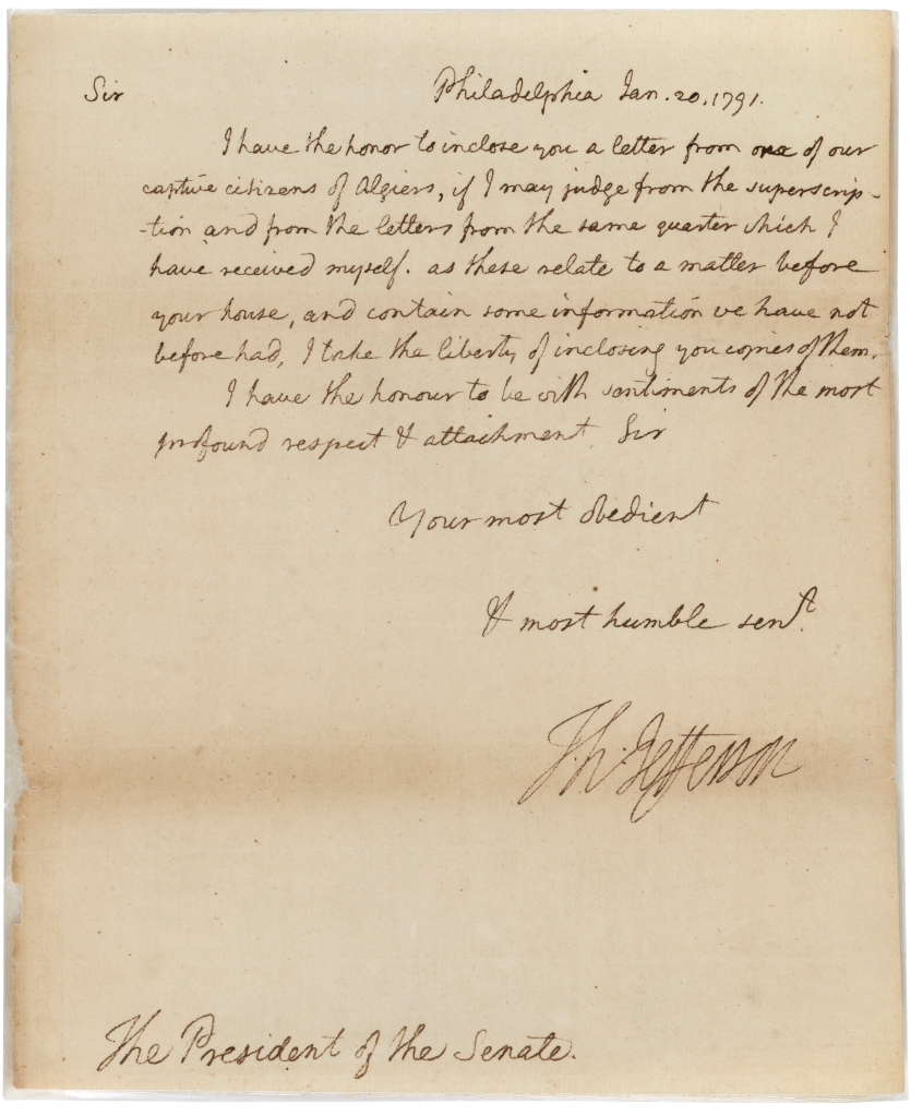 Thomas Jefferson's letter to the Senate transmitting O'Bryen's letter, January 20, 1791. (Records of the U.S. Senate, National Archives)