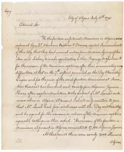 Richard O'Bryen's letter to Thomas Jefferson, first page, July 12, 1790. (Records of the U.S. Senate, National Archives)