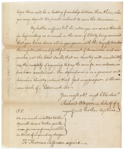 Richard O'Bryen's letter to Thomas Jefferson, last page, July 12, 1790. (Records of the U.S. Senate, National Archives)
