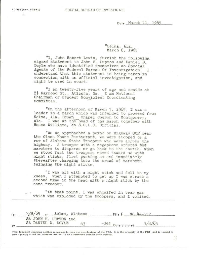 "Statement of John Lewis regarding Selma's ""Bloody Sunday,"" March 8, 1965. (Records of the Federal Bureau of Investigation, National Archives)"