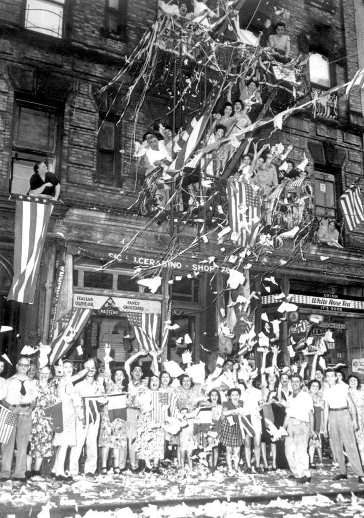 New Yorkers in Little Italy celebrated the Japanese surrender on August 14, 1945. (208-N-43468; National Archives Identifier 535794)