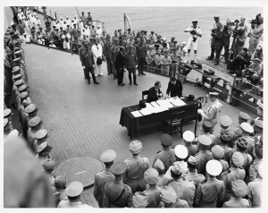 Signing the Instrument of Surrender, September 2, 1945. (National Archives Identifier 23658002)